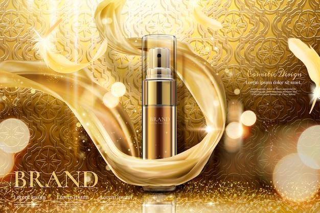 Luxe gouden huidverzorgingsspray met geweven chiffon, gebogen achtergrond