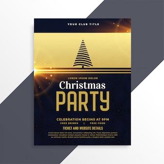 Luxe gouden kerstfeest flyer sjabloon