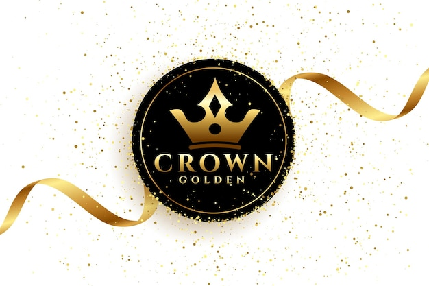 Luxe gouden kroon achtergrond met lint