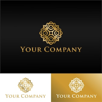 Luxe gouden logo abstract floral gratis download
