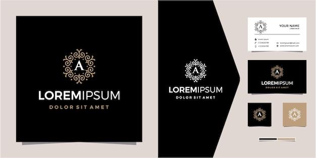 Luxe gouden logo met initialen bedrijf gratis patroonontwerp