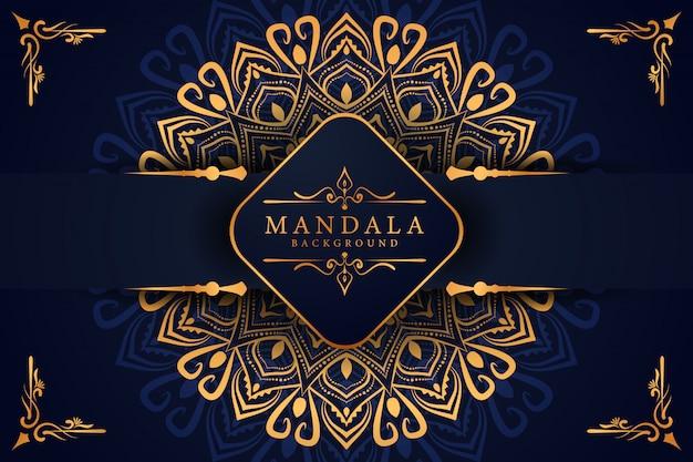 Luxe gouden mandala achtergrond met gouden arabesque arabische islamitische oost-stijl