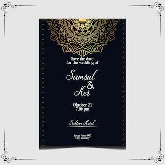 Luxe gouden mandala bruiloft uitnodiging.