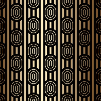 Luxe gouden naadloos patroon met ovalen en strepen, zwarte en gouden kleuren, art decostijl