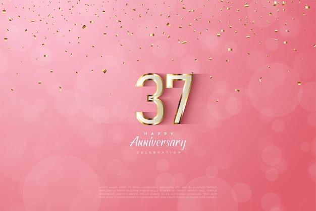 Luxe gouden omlijnde cijfers voor de viering van zijn 37-jarig jubileum