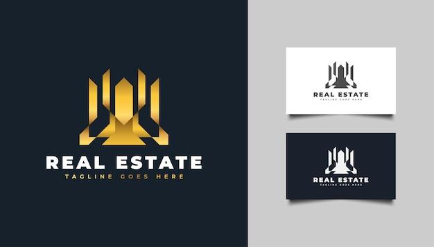 Luxe gouden onroerend goed-logo in abstract concept. ontwerpsjabloon voor bouw, architectuur of gebouw logo