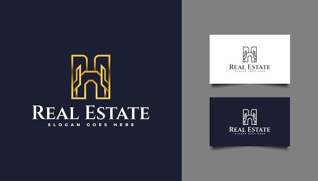 Luxe gouden onroerend goed logo met lijnstijl. ontwerpsjabloon voor bouw, architectuur of gebouw logo
