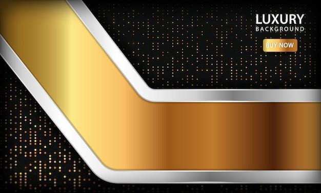 Luxe gouden overlapping lagen achtergrond. textuur met zilveren lijst en glitters
