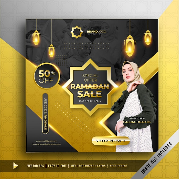 Luxe gouden ramadan verkoop vierkante banner promotie sjabloon