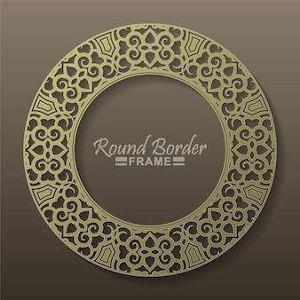 Luxe gouden ronde bloemen frame ontwerp