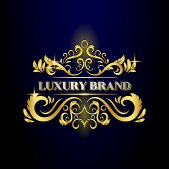 Luxe gouden sierontwerp logo sjabloon