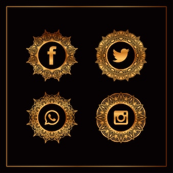 Luxe gouden social media logo-collectie