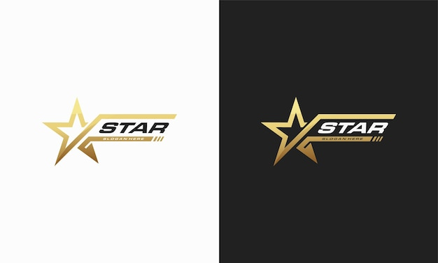 Luxe gouden ster logo ontwerpen sjabloon, elegante ster logo ontwerpen