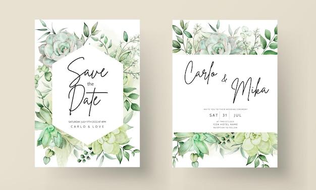 Luxe groen bruiloft uitnodigingskaart bloemen