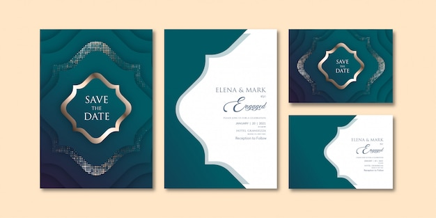 Luxe groenachtig blauw thema geometrische gelaagde uitnodigingssjabloon