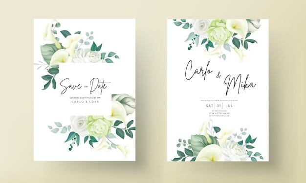 Luxe groene lelie en roze bloem bruiloft uitnodigingskaart