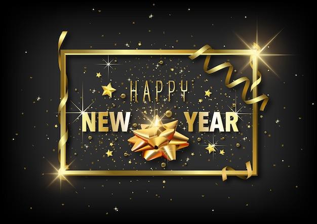 Luxe happy new year-wenskaart met gouden decoratie op zwart