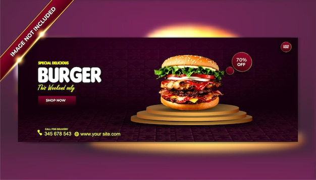 Luxe heerlijke hamburger eten menu social media voorbladsjabloon