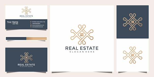 Luxe home line art stijl inspiratie minimalistisch design. logo thuislijnstijl met sjabloon voor visitekaartjes.