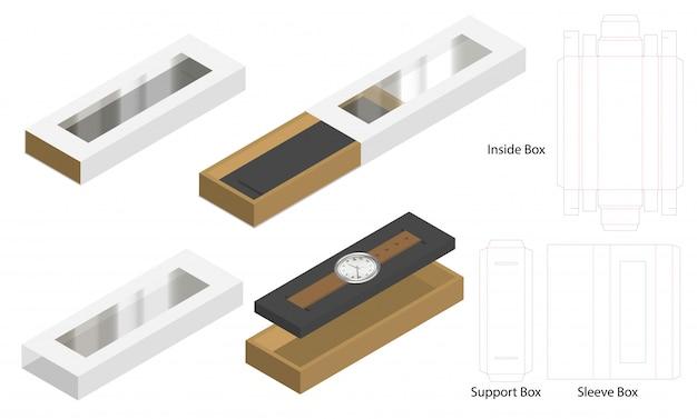 Luxe horloge hoes doos mockup dieline sjabloon