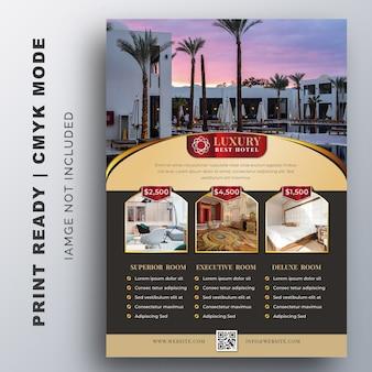 Luxe hotel sjabloon voor poster, flyer, ontwerpsjabloon