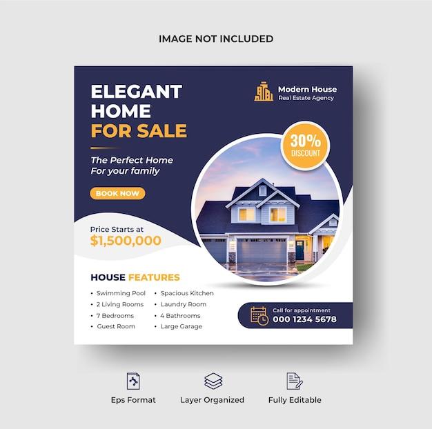 Luxe huisverkoop instagram post en social media banner of vierkante flyer-sjabloon premium vector