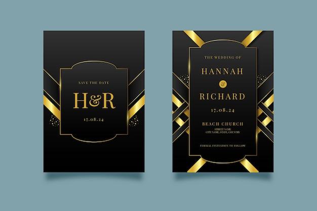 Luxe huwelijksuitnodiging met kleurovergang