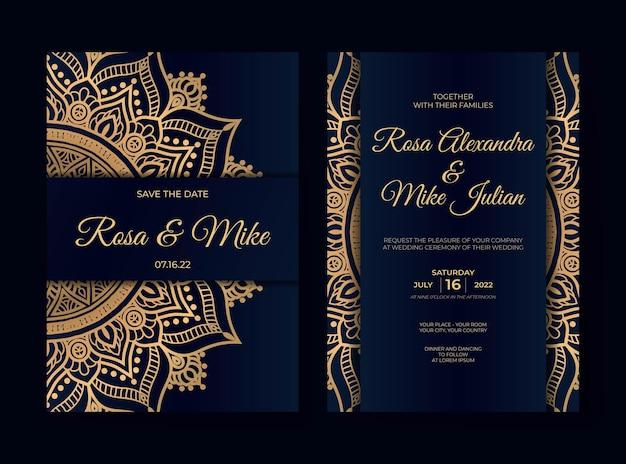 Luxe huwelijksuitnodiging met mandala-ontwerp