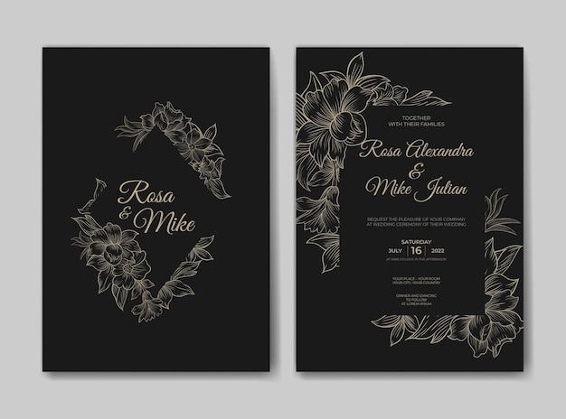 Luxe huwelijksuitnodiging met prachtige lijntekeningen bloemsjabloon