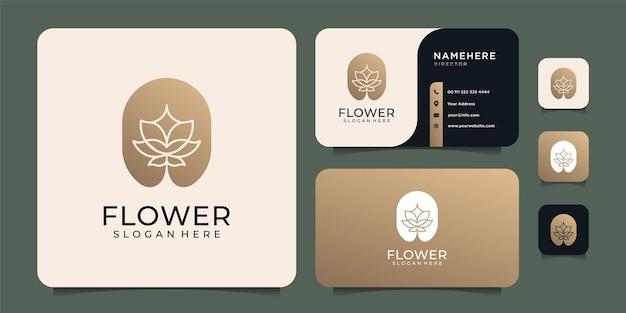 Luxe inspirerend bloemlogo in gradiëntvorm met visitekaartjeontwerp