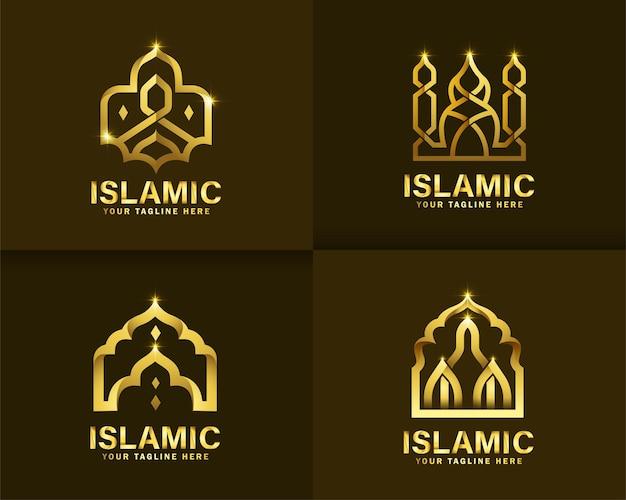 Luxe islamitisch logo. gouden moskee logo ontwerpsjabloon