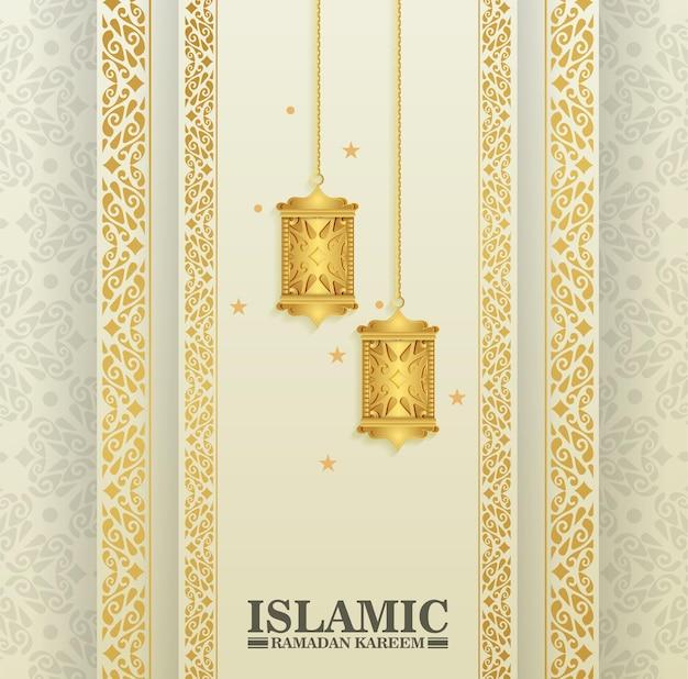 Luxe islamitische achtergrond met lantaarn