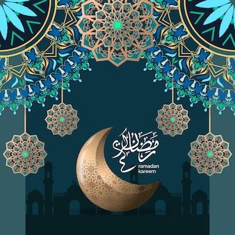 Luxe islamitische ramadan groet illustratie sjabloon