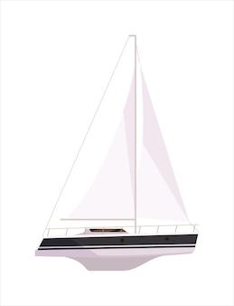 Luxe jacht schip met mast geïsoleerd op een witte achtergrond