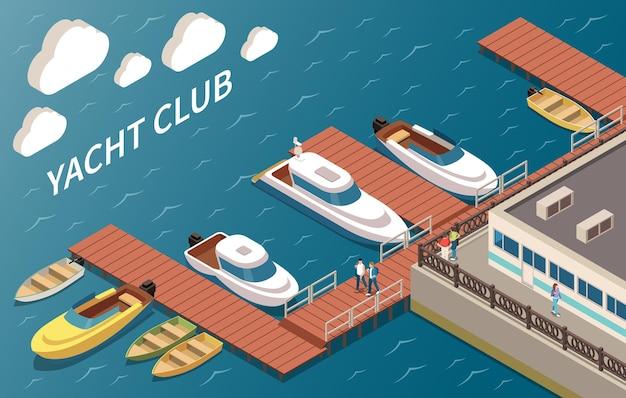 Luxe jachtclub zeilen en motorboten aanmeren faciliteiten bouwen hoek oceaanzicht isometrische samenstelling