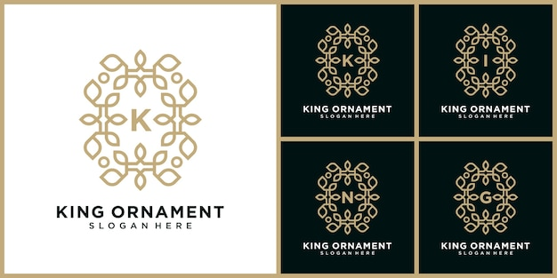 Luxe k brief logo. logo met rond bloemornament