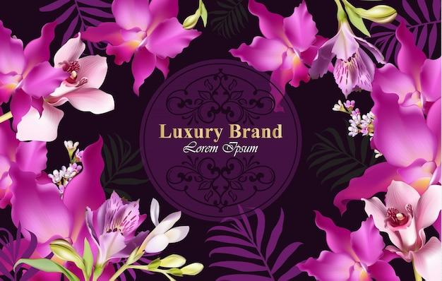 Luxe kaart met orchideebloemen vector. mooie illustratie voor merkboek, visitekaartje of poster. roze achtergrond plaats voor teksten