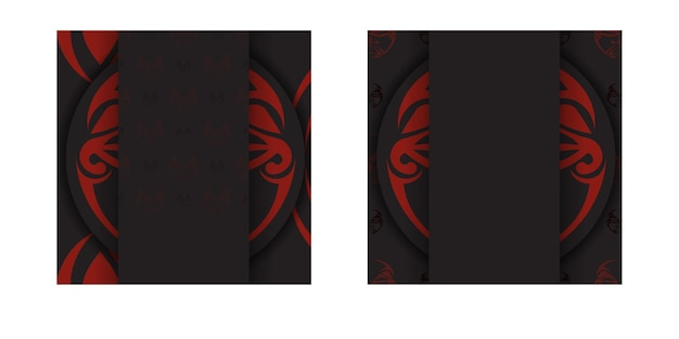 Luxe kant-en-klare zwarte kleur ansichtkaart ontwerp met masker van de goden patronen. uitnodigingssjabloon met een plaats voor uw tekst en een gezicht in polizeniaanse stijlornamenten.