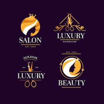 Luxe kapsalon logo-collectie Gratis Vector