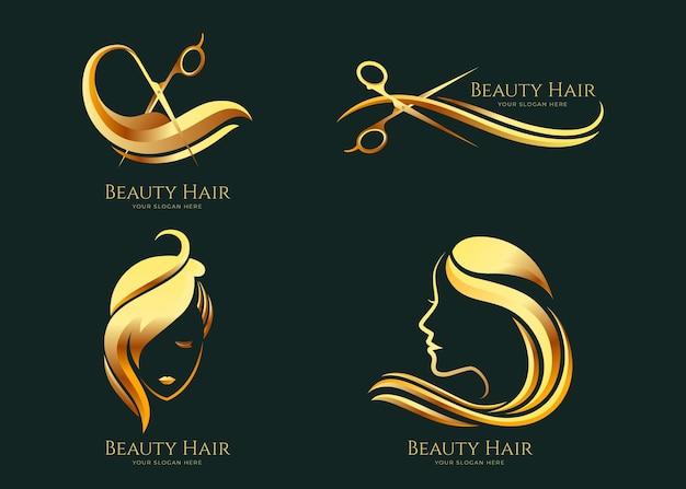 Luxe kapsalon logo collectie