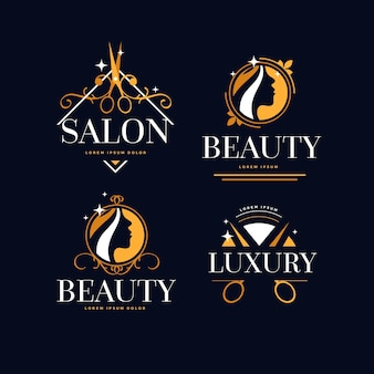 Luxe kapsalon logo collectie