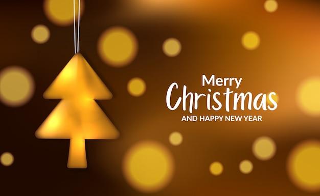 Luxe kerstaffiche banner met illustratie van gouden metalen boom sleutelhanger