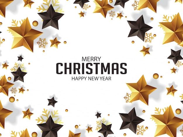 Luxe kerstgroet met gouden sterren illustratie