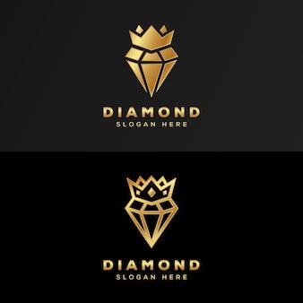 Luxe koninklijk diamantgoud logo premium
