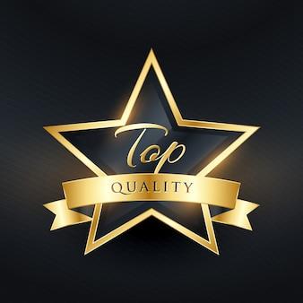 Luxe kwaliteitslabel ontwerp met gouden lint