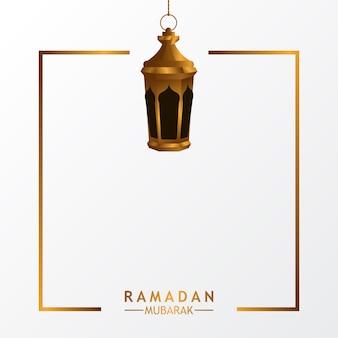 Luxe lantaarn lamp met witte achtergrond voor islamitische evenement