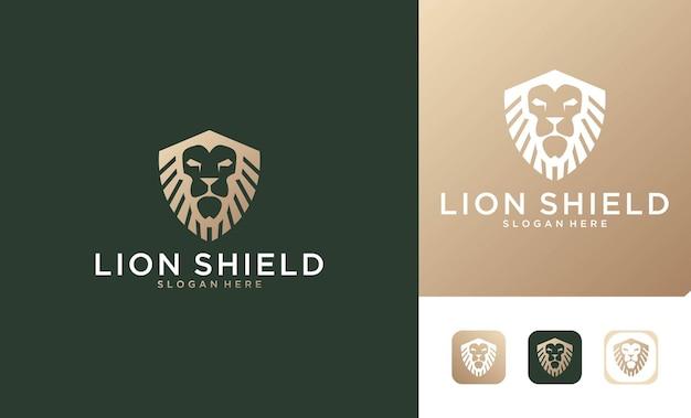 Luxe leeuwenkoning met schildlogo-ontwerp