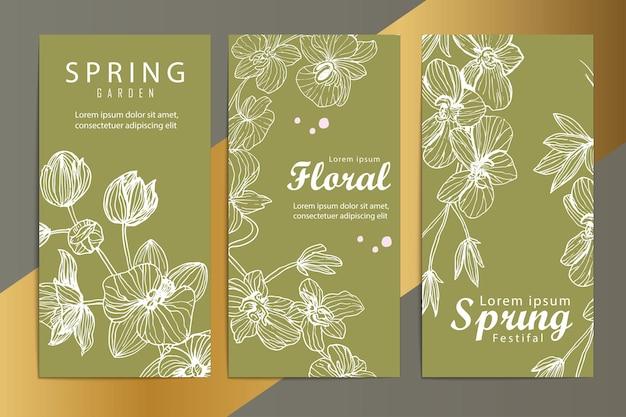 Luxe lente bloemen gouden banners set