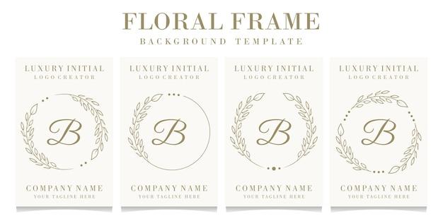 Luxe letter b logo ontwerp met bloemen frame achtergrond sjabloon