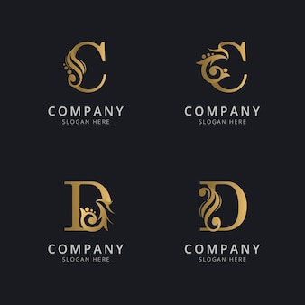 Luxe letter c en d met gouden kleur logo sjabloon